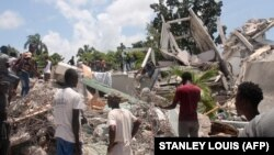 A Manguier Hotel romjai a földrengés után, 2021. augusztus 14 -én, Les Cayes -ben, Haiti délnyugati részén