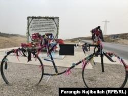 A memorial honoring the victims of the July terrorist attack in Danghara, Tajikistan.