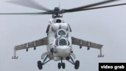 """""""Мотор Сич"""" өндірген бөлшектермен құрастырылған Ми-24 әскери тікұшағы."""