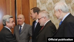 Armenia -- President Serzh Sarkisian (L) meets with the visiting co-chairs of the OSCE Minsk Group, 16Mar2011.