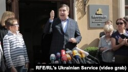 Михаил Саакашвили баспасөз конференциясында сөйлеп тұр. Львов, Украина, 11 қыркүйек 2017 жыл.
