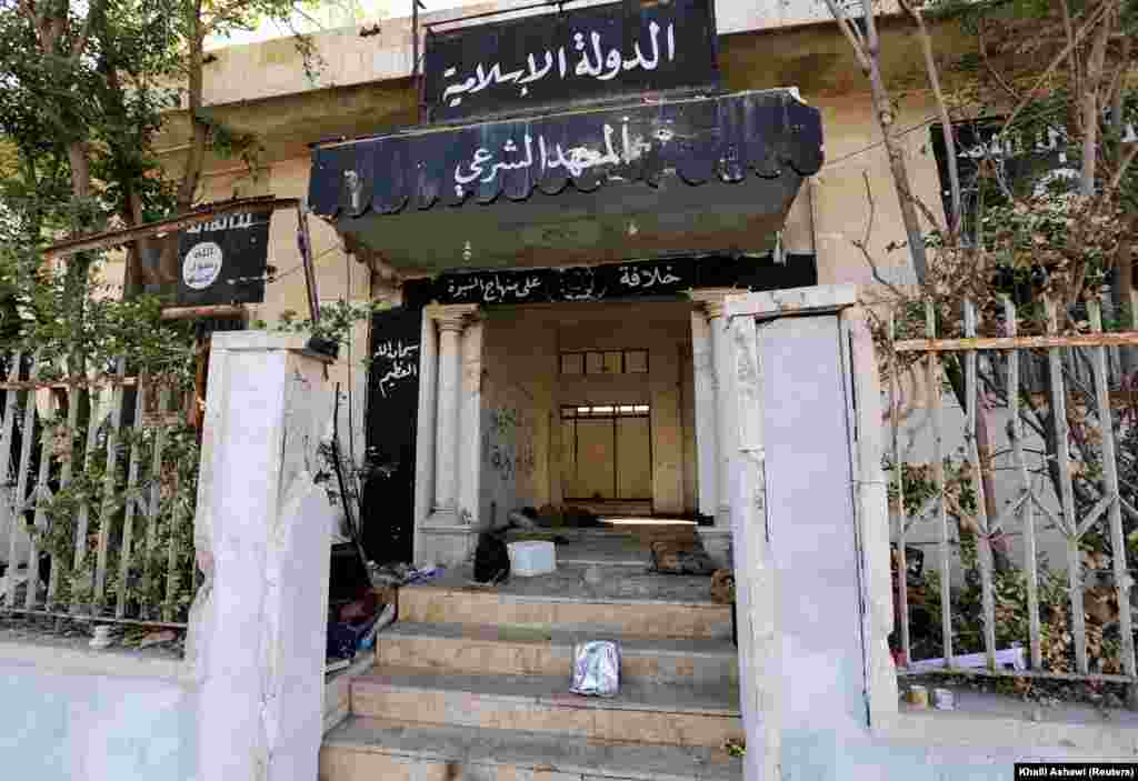 An administrative building formerly used by IS gunmen in the Syrian town of Al-Rai, near Aleppo.