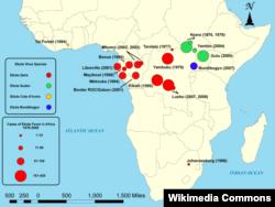 Карта случаев заболевания лихорадкой Эбола в Африке с 1979 по 2008 год. Западную Африку до сих пор болезнь обходила