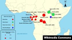 Мапа випадків захворювання «Еболою» в Африці з 1979 по 2008. До цього часу спалахів епідемії цієї хвороби у Західній Африці не було