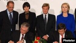 Швейцария - Официальная церемония подписпния армяно-турецких протоколов в Цюрихе, 10 октября 2009 г․