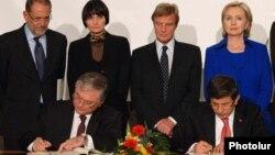Во время подписания армяно-турецких протоколов, Цюрих, Швейцария, 10 октября 2009 г.