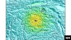 Tajikistan -- An intensity shake map released by the US Geological Survey (USGS) shows the location where a preliminary 7.2 magnitude earthquake struck near Karakul, west of Murghob, December 7, 2015