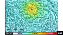 Карта очага землетрясения, опубликованная Геологической службой США.