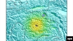Карта произошедшего в Таджикистане землетрясения.