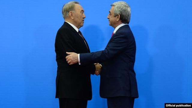 Kazakhstan - President Nursultan Nazarbayev greets his Armenian counterpart Serzh Sarkisian at the Eurasian Union summit in Astana, 29May2014.
