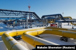 Gas pipelines at the Atamanskaya compressor station, part of Gazprom's Power of Siberia project, outside the Far Eastern town of Svobodny in the Amur region in November 2019