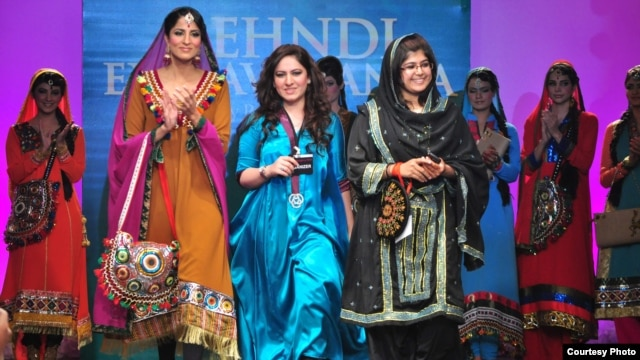 Fashion designer Parkha Khan, 22, (center) runs the Karachi-based fashion house Dew Drops Couture.
