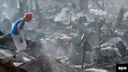 Сгоревние дома в Остафьево, Московская область