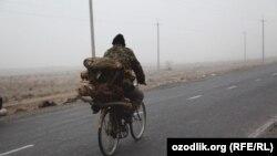 Велосипед айдаған ер адам. Өзбекстан. Көрнекі сурет.