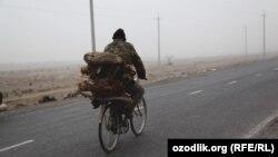 Велосипедист на дороге в Ферганской области Узбекистана.