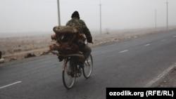 Фергана облусундагы жолдордун биринде велосипед тээп бараткан адам.