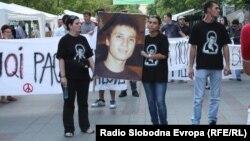Протест против полициска бруталност организиран на повик на братот на убиениот Мартин Нешкоски, Александар на 29 септември 2011.