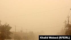 أجواء بغداد أصبحت مكللة كالعادة بعاصفة ترابية
