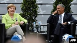 Barack Obama i Angela Merkel na Branderburgu 25. maja 2017