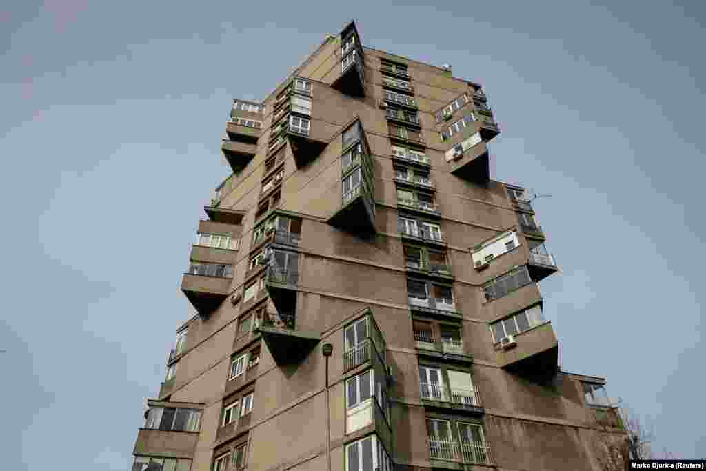 "The Karaburma Housing Tower in Belgrade, which is also known as the ""Toblerone building,"" was built in 1963. The apartment block is one of several landmarks in the former Yugoslav capital built in the brutalist architectural style."