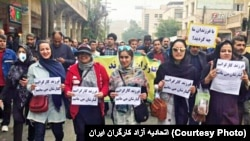 Families of steelworkers demonstrating in the city of Ahvaz in protest to the economic situation and solidarity with workers, on Tuesday, December 04, 2018. Photo issued by labor activists.