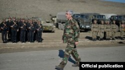 Nagorno-Karabakh - Armenian President Serzh Sarkisian watches a military exercise, 20Nov2015.