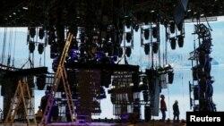 Подготовка сцены «Евровидения-2017», Киев, 11 апреля 2017 год