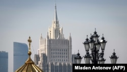RUSSIA -- A view of the Russian Foreign Ministry building in Moscow, April 6, 2018