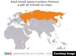 """""""Когда грозишь в компьютере Путину, а потом смотришь на карту"""". Фотография из доклада организации """"Чешские эльфы"""" о дезинформации в чешском интернете"""