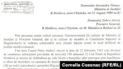 Scrisoarea lui Andrei Cușnir adresată ministrului justiției