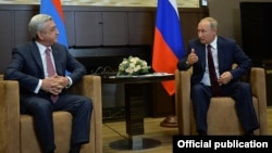 Russia - President Vladimir Putin (R) meets with his Armenian counterpart Serzh Sarkisian in Sochi, 23Aug2017.