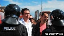 Aktivistë të Lëvizjes Vetëvendosje protestuan të enjten kundër vizitës së Borko Stefanoviqit në Prishtinë.