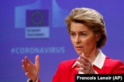 Президент Єврокомісії Урзула фон дер Лаєн оголошує фінансовий пакет на боротьбу з коронавірусом. Брюссель, 2 квітня 2020 року
