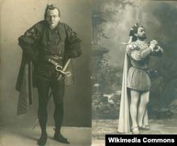 Федор Шаляпин в роли Мефистофеля (слева) и Леонид Собинов в роли Фауста