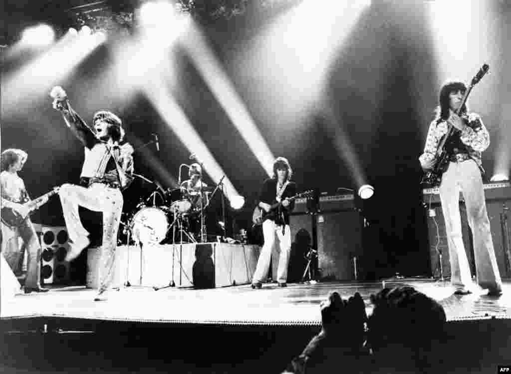 The Rolling Stones -- named after a 1948 song by Muddy Waters, the father of modern Chicago blues -- perform at Wembley stadium in London in 1973.