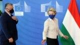 Orbán Viktor és Ursula von der Leyen Brüsszelben 2021. április 23-án