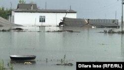Затопленное село Жанатурмыс в Мактааральском районе Туркестанской области. 2 мая 2020 года.