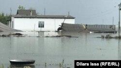 Затопленные строения в Мактааральском районе Туркестанской области. 2 мая 2020 года.