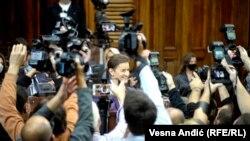 Mandatarka za sastav nove Vlade Srbije Ana Brnabić pre iznošenja ekspozea u Skupštini Srbije, Beograd, 28. oktobar