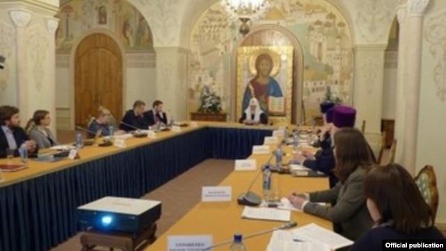 Константин Малофеев (крайний слева) на встрече с патриархом Кириллом