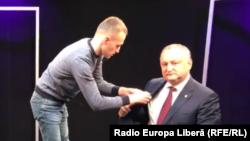 Președintele Moldovei în studioul Europei Libere de la Chișinău.