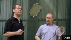 Russian President Dmitry Medvedev and Prime Minister Vladimir Putin at an informal badminton session outside Moscow.