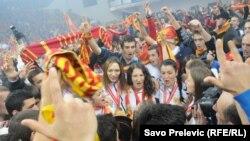 Doček rukometašica Crne Gore u Podgorici nakon osvojenog Evropskog prvenstva