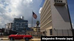نمایی از سفارت آمریکا در هاوانا، پایتخت کوبا
