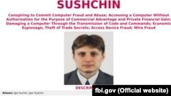 Igor Sushchin, seen here in an FBI wanted poster, was believed to still be in Moscow, though his whereabouts were not immediately clear.