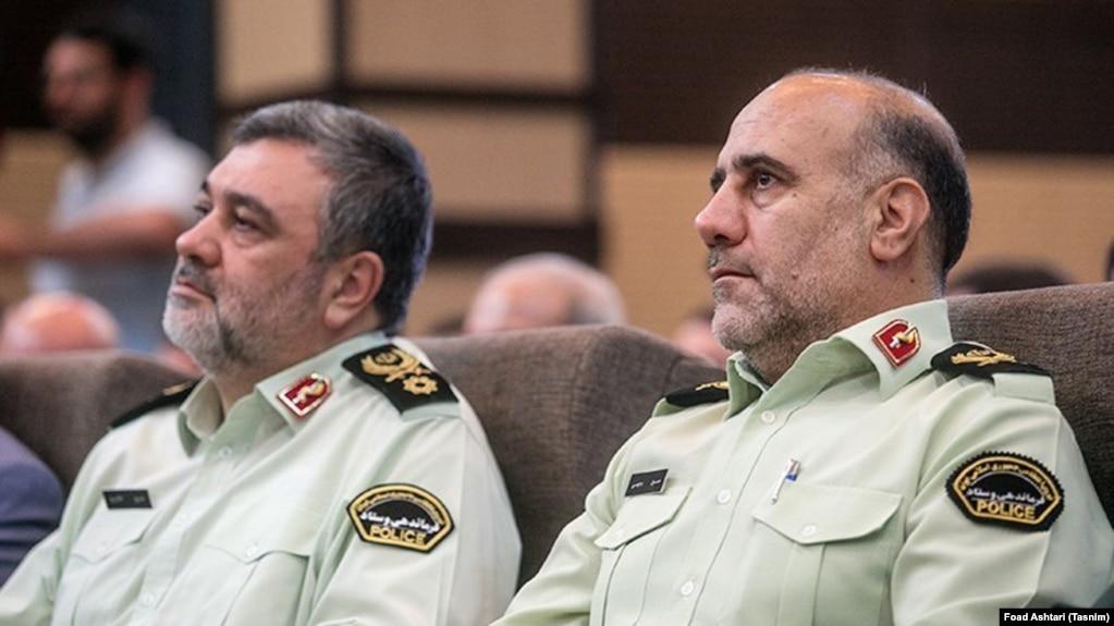 Tehran Police commander Hossein Rahimi (R) and head of Iran's Police forces Hossein Ashtari, in a ceremony in Tehran, undated.