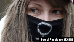 Митинг за женскую солидарность в честь Международного женского дня в Москве
