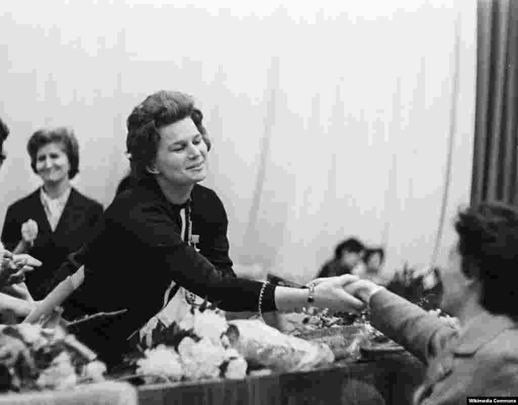 Tereshkova appeared as a delegate to a Moscow World Women's Congress the week after her historic flight.