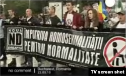 La o demonstrație a extremei drepte la București în 2010
