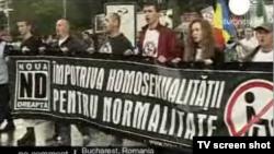 La o demonstrație homofobă la București în mai 2010
